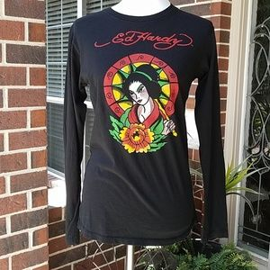 Ed Hardy Geisha Parasol Black Long Sleeve Top